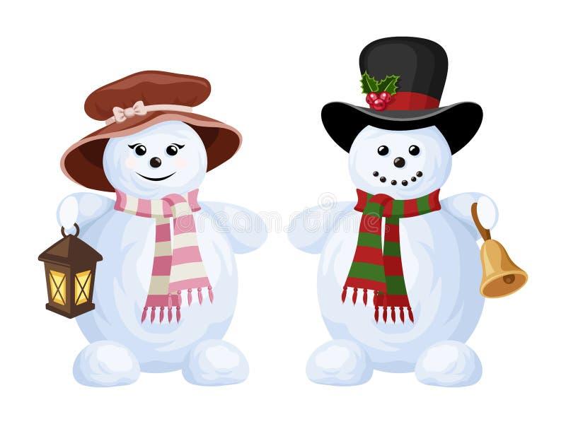 Två julsnögubbear: en pojke och en flicka. vektor illustrationer