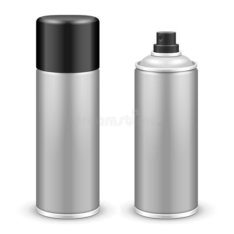 Två kan den Gray Aerosol Spray Metal 3D flaskan: Målarfärg grafitti, deodorant royaltyfri illustrationer