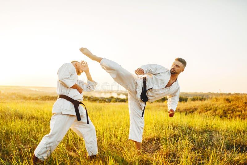 Två karatekämpar, sparkar in magen royaltyfria bilder