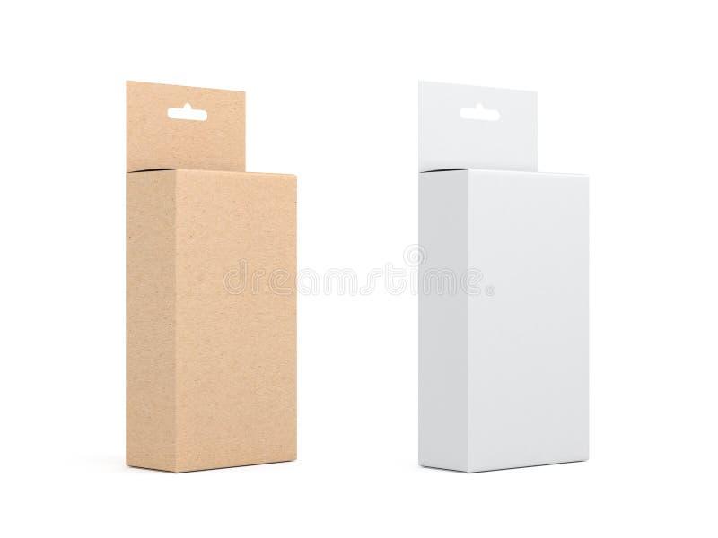 Två kartonger med Hang Tab den förpackande modellen, vit och kraft bryner stock illustrationer