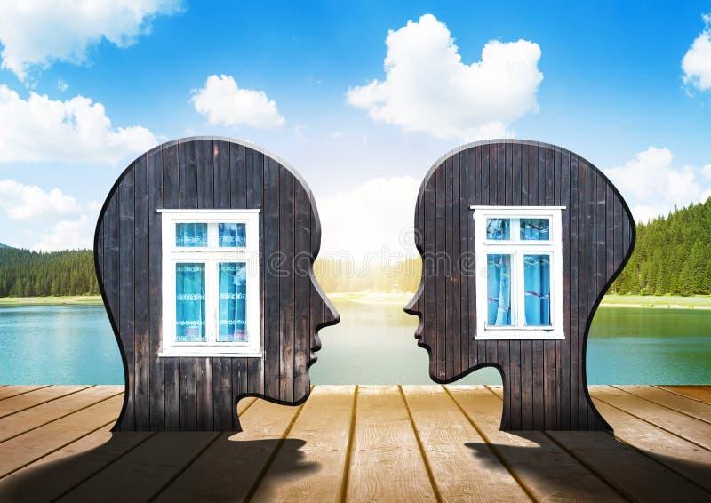 Två konturer av mänskligt huvud med fönster inom royaltyfri illustrationer