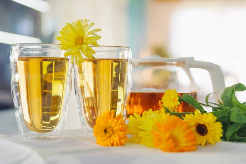 Två koppar av calendularingblommate på en tabell, med nya blommor inomhus arkivfoton
