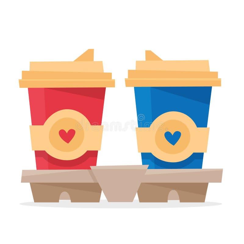 Två koppar kaffe i hållare royaltyfri illustrationer