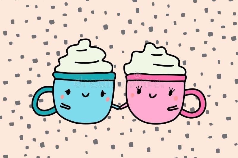 Två koppar kaffe varma rymmande förälskade handpar, rosa blått med kräm vektor illustrationer
