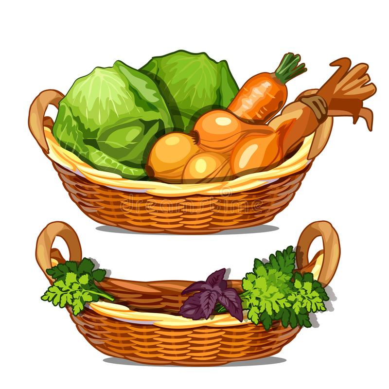 Två korgar med örter, lökar, morötter, kål Vektorillustration av grönsaker i tecknad filmstil som isoleras på vit royaltyfri illustrationer