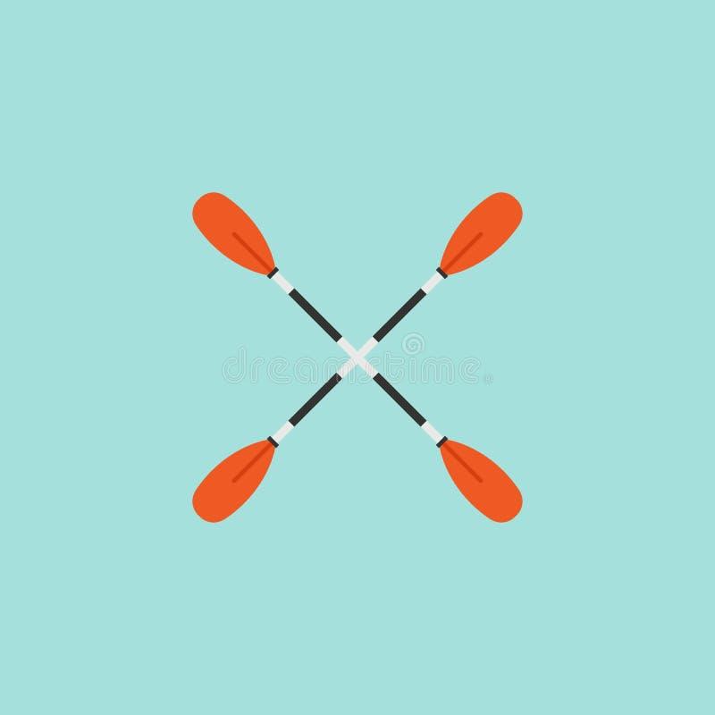 Två korsade åror Plan vektorsymbol som isoleras på blått Roddåror skovel vektor illustrationer