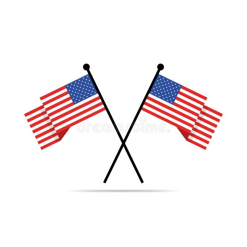 Två korsade amerikanska flaggan också vektor för coreldrawillustration vektor illustrationer
