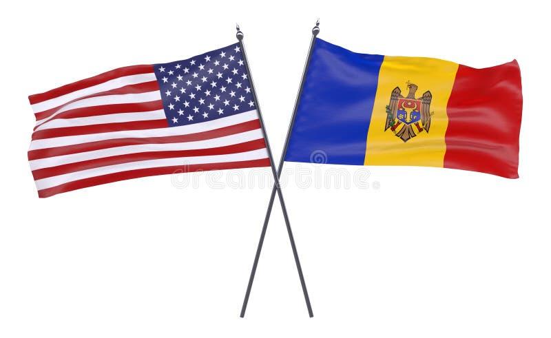 Två korsade flaggor stock illustrationer