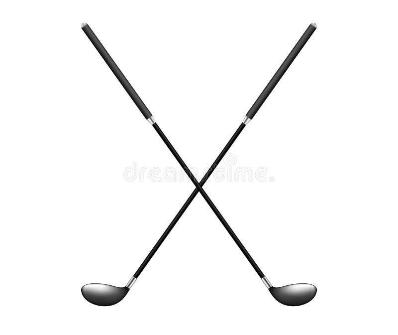 Två korsade golfklubbar royaltyfri illustrationer