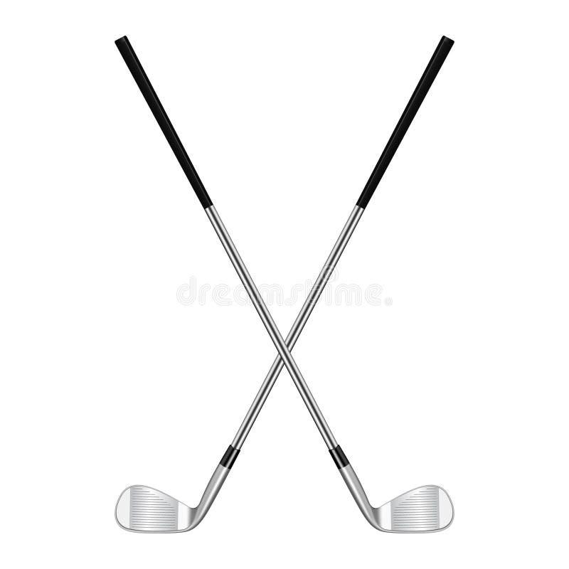 Två korsade golfklubbar vektor illustrationer