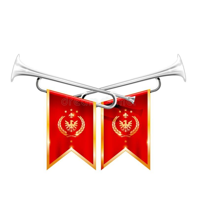 Två korsade kungliga trumpeter, försilvrar hornet, triumf och fanfar royaltyfri illustrationer