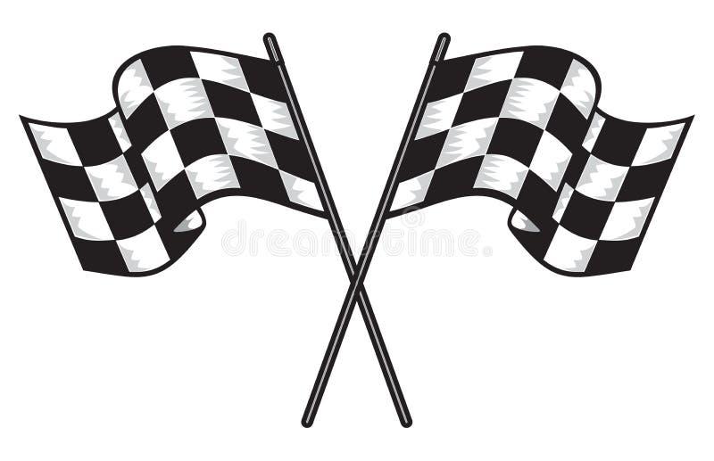 två korsade rutiga flaggor stock illustrationer