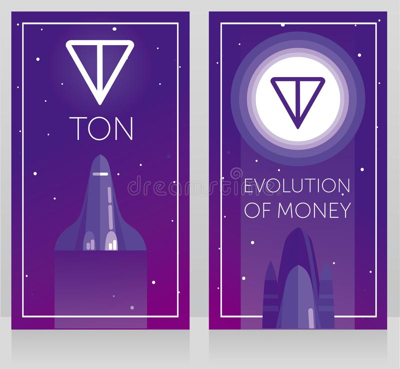 Två kort för telegramcryptocurrencyen - ton och ny utrymmeteknologi, rymdfärjafluga till tonlogotypen på månen som är ultraviolet vektor illustrationer