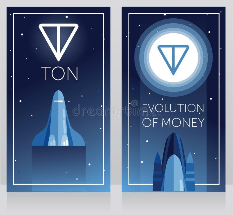 Två kort för telegramcryptocurrencyen - ton och ny utrymmeteknologi, rymdfärjafluga till tonlogotypen på månen som är ultraviolet royaltyfri illustrationer