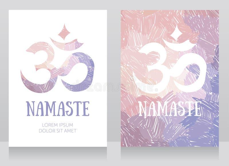 Två kort med om-symbol på konstnärlig bakgrund stock illustrationer
