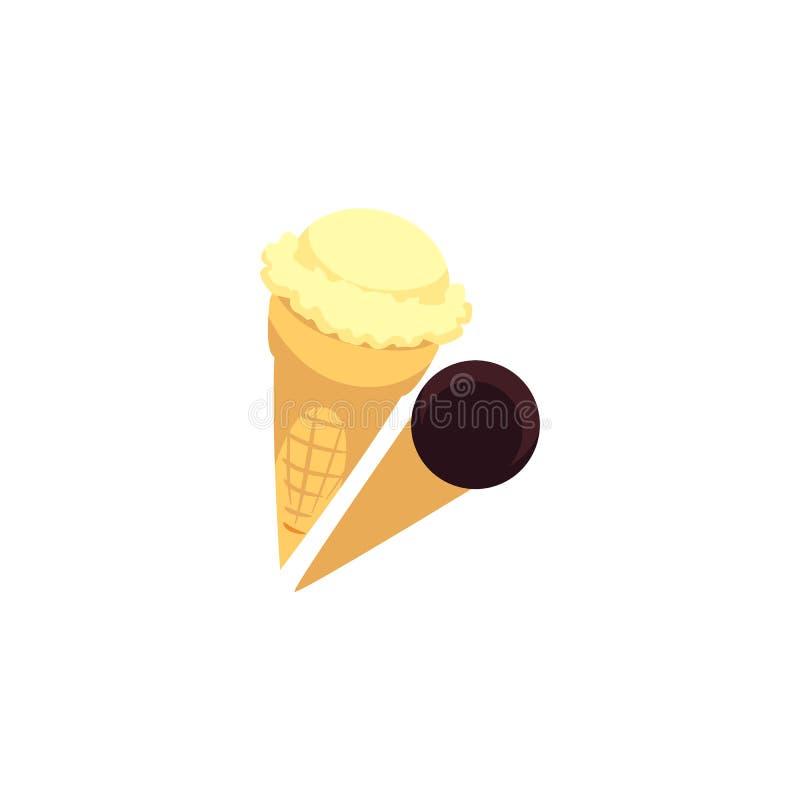 Två kottar med glass klumpa ihop sig - vanilj och choklad som isoleras på vit bakgrund royaltyfri illustrationer