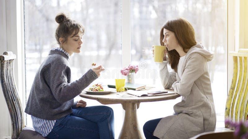 Två kvinnliga vänner som möter i ett kafé för att äta royaltyfri foto