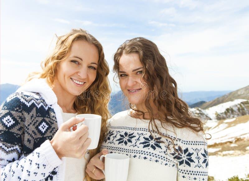 Två kvinnliga vänner som tycker om den varma drinken i kafé på, skidar semesterorten royaltyfria foton