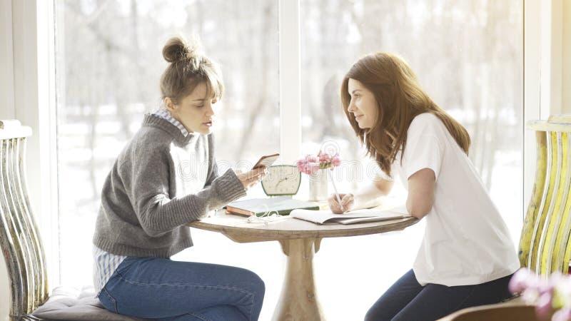 Två kvinnliga vänstudenter som sitter i en kaféframsida - till - framsida royaltyfri bild