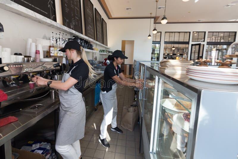 Två kvinnligbaristas - servitris royaltyfria bilder
