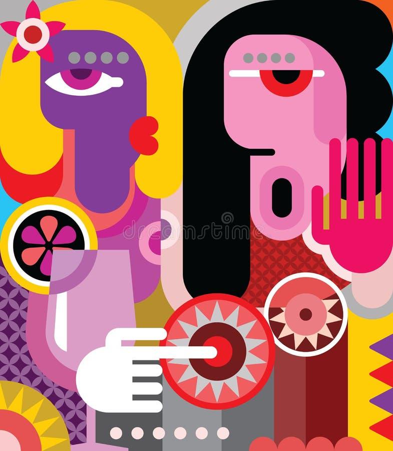 Två kvinnor vektor illustrationer
