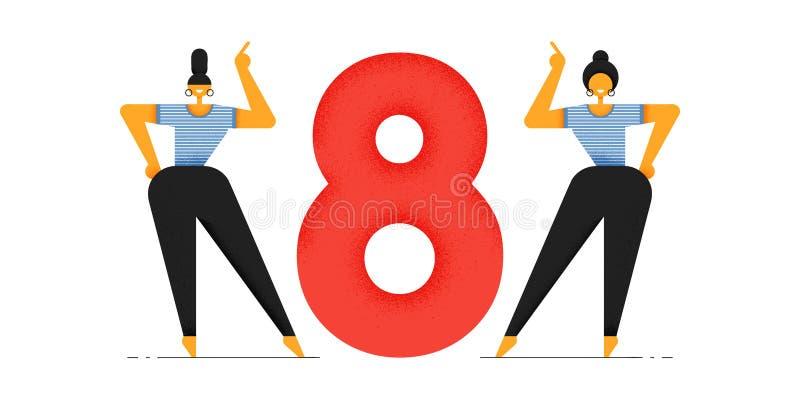Två kvinnor i sportswear diagram åtta Internationell dag för kvinna` s stock illustrationer