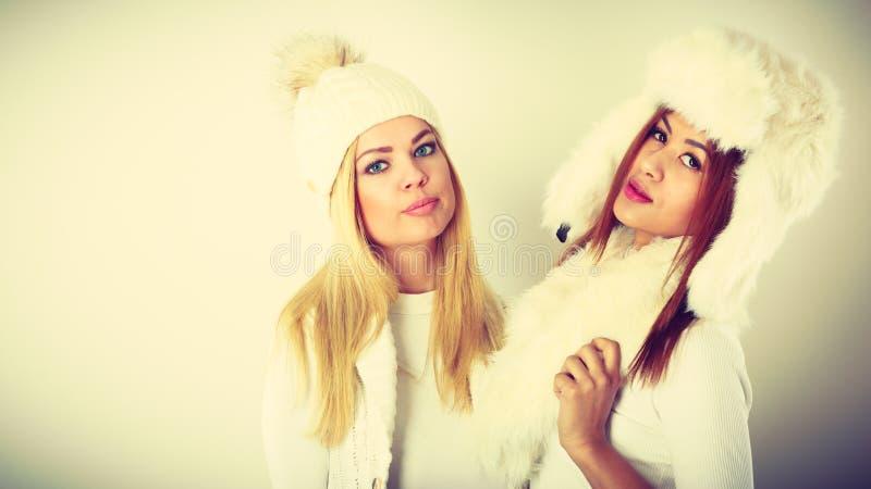 Två kvinnor med vinterkläder arkivbild