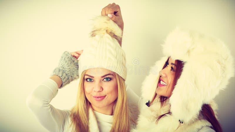Två kvinnor med vinterkläder royaltyfri bild