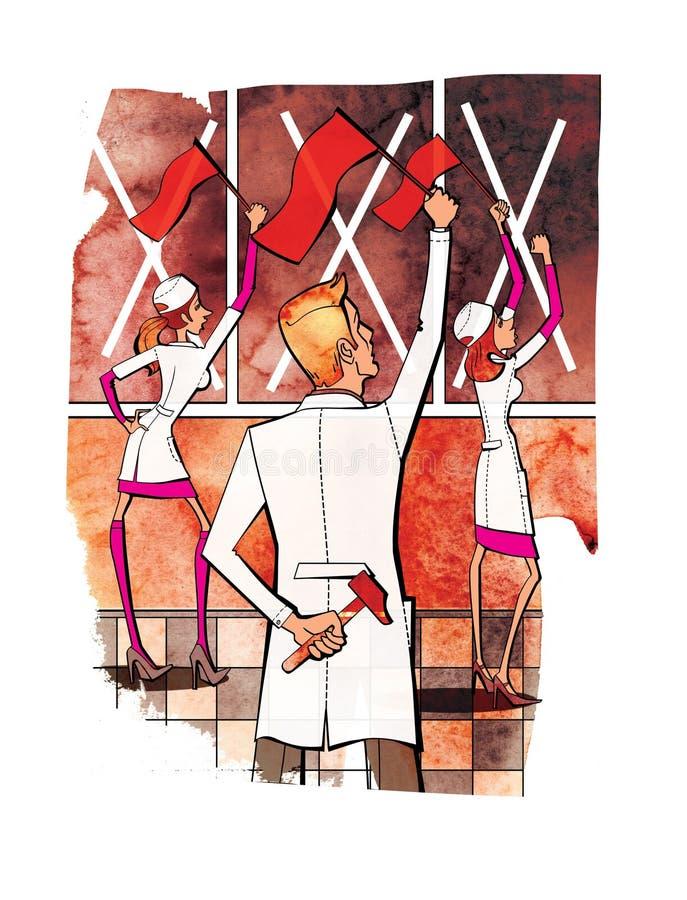 Tv? kvinnor och en man i den vita likformign med r?da flaggor i deras h?nder Protestslag Medicin och farmakologi E vektor illustrationer