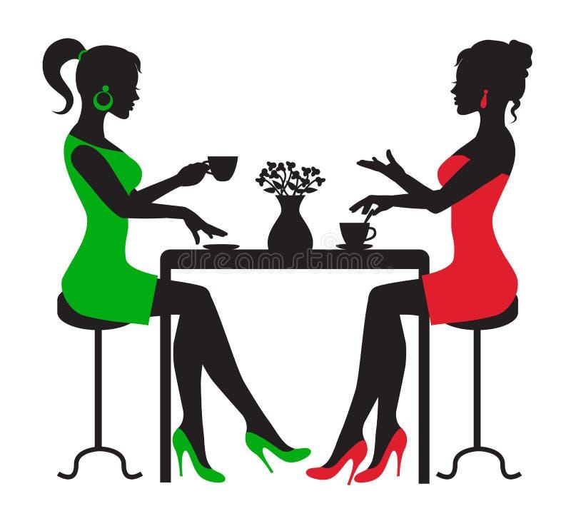Två kvinnor som dricker kaffe på en tabell vektor illustrationer