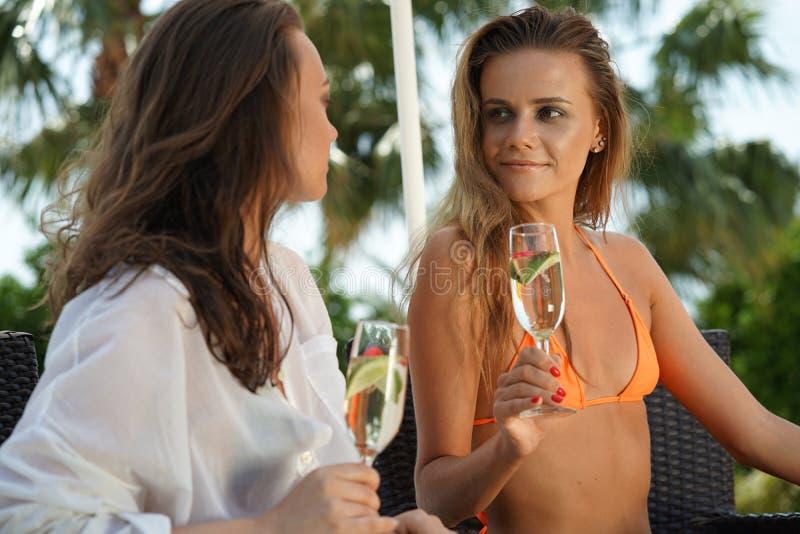 Två kvinnor som dricker mousserande vin royaltyfria bilder
