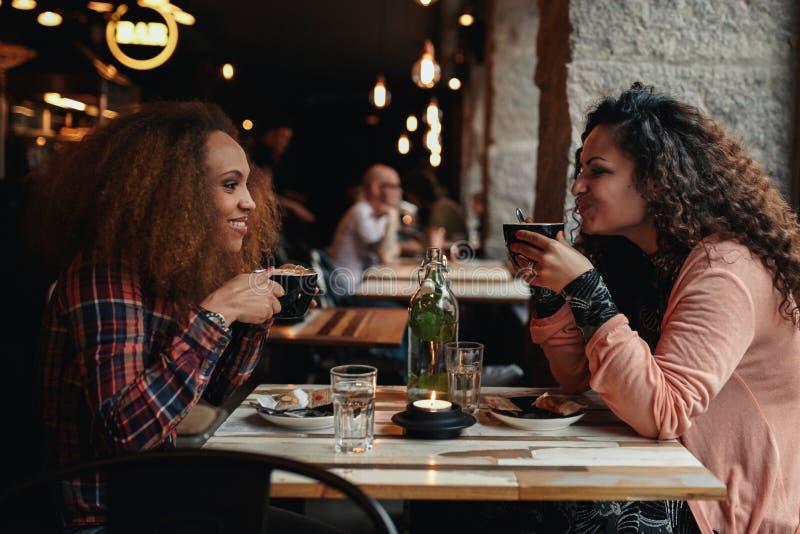 Två kvinnor som talar och dricker kaffe i ett kafé arkivfoto