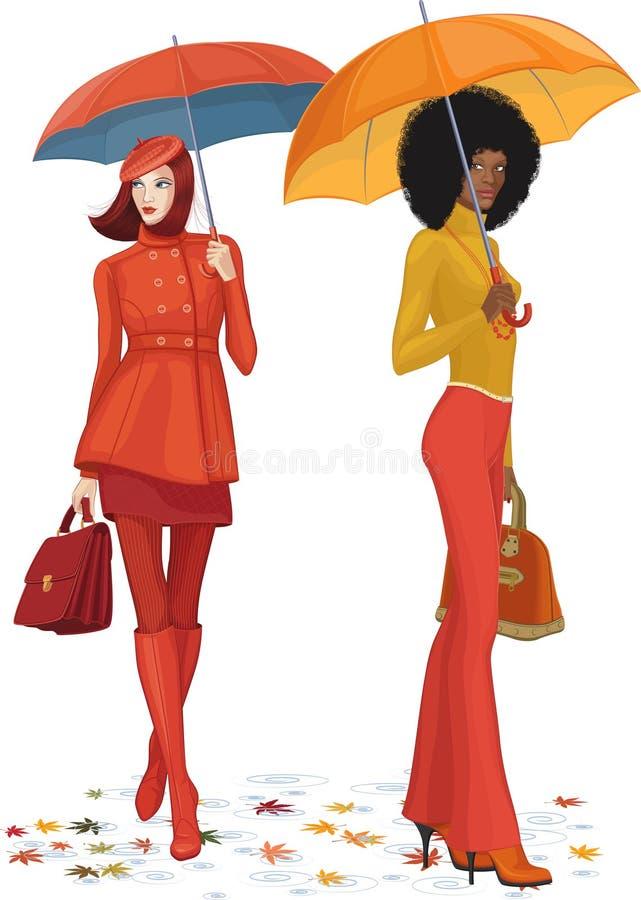 Två kvinnor under regn stock illustrationer
