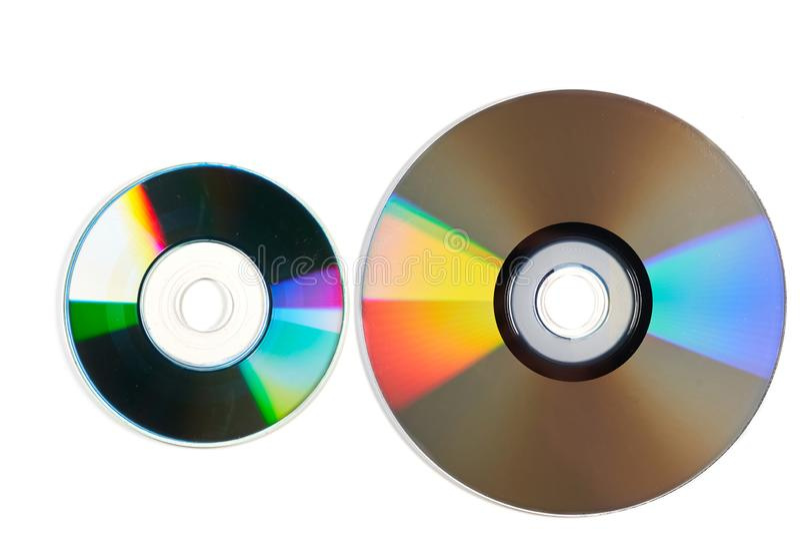 Två laser-disketter som isoleras på vit bakgrund fotografering för bildbyråer