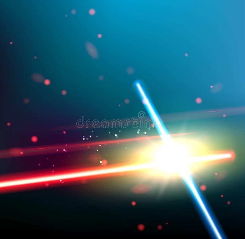 Två laser-strålar royaltyfri illustrationer
