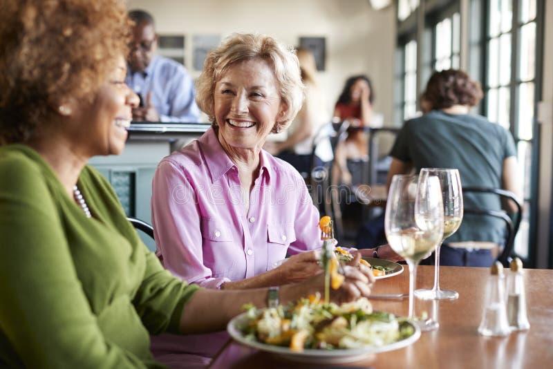 Två le höga kvinnor som möter för mål i restaurang royaltyfri bild