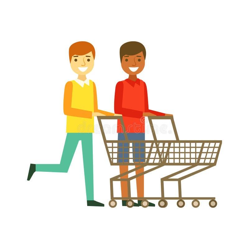 Två le män med tomma vagnar för en shopping, shopping i livsmedelsbutik, supermarket eller återförsäljnings- shoppar, det färgrik vektor illustrationer