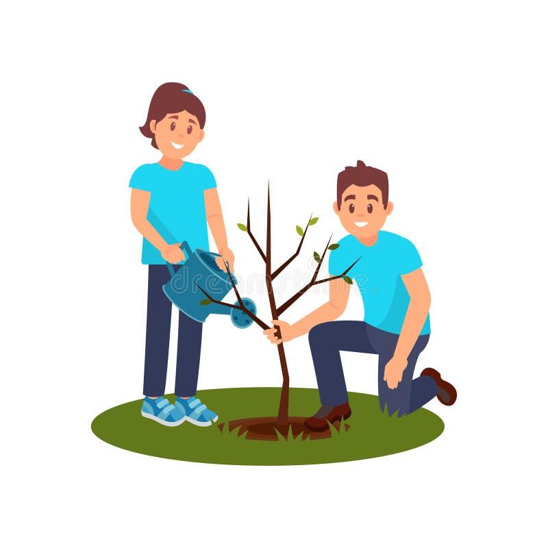 Två le volontärer som planterar trädet Hållande planta för man, bevattna för kvinna Folk som arbetar i trädgård Plan vektordesign royaltyfri illustrationer