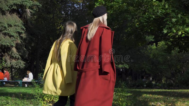 Två lesbiska kvinnan, unga flickor som rymmer händer och går i gräsplan, höst parkerar, LGBT-begreppet Samesex härlig lesbisk kvi royaltyfri foto