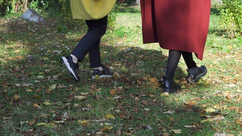 Två lesbiska kvinnan, unga flickor som rymmer händer och går i gräsplan, höst parkerar, LGBT-begreppet Samesex härlig lesbisk kvi royaltyfri bild