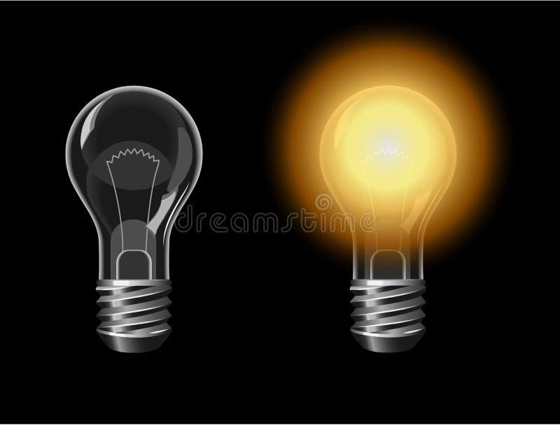 Två lightbulbes av och på i mörkret stock illustrationer