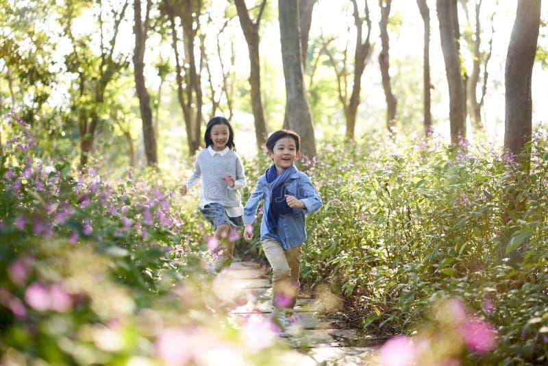Två lilla asiatiska ungar som kör i blommafält royaltyfria foton