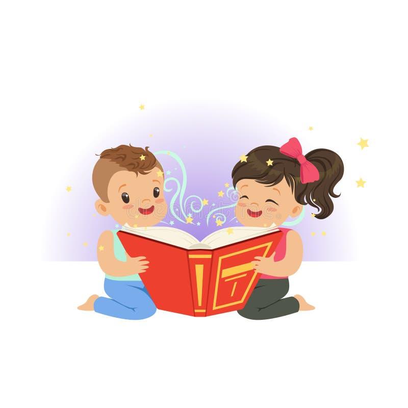 Två lilla barn som läser den magiska boken med fantasiberättelser Tecknad filmpojke- och flickatecken Barndom och unge stock illustrationer
