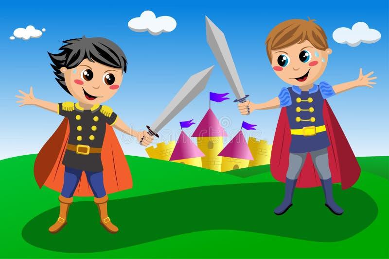 Två lilla riddare i en duell stock illustrationer