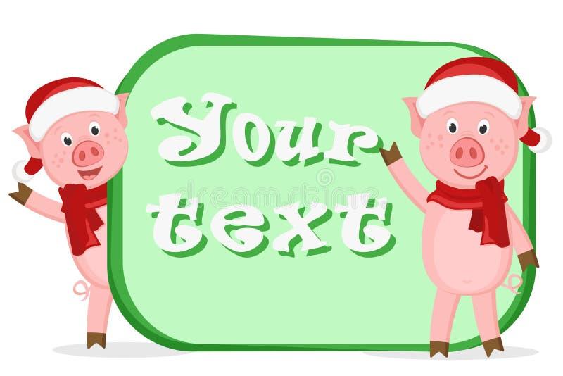 Två lilla svin i juldräkter, text stock illustrationer