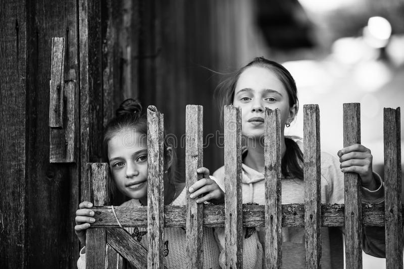 Två lilla systrar för flickor ser ut bakifrån ett trästaket i by royaltyfria bilder