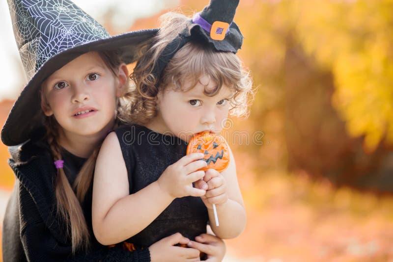 Två lilla systrar klädde som häxor, trick eller fest arkivfoton
