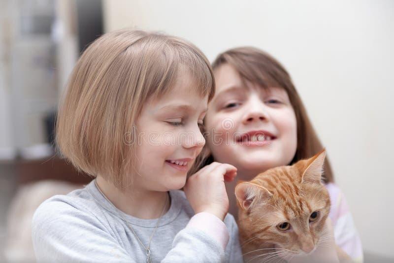 Två lilla systrar med katten arkivbild