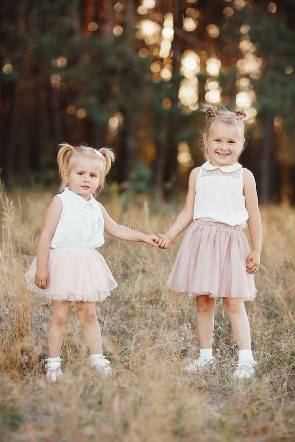 Två lilla systrar rymmer händer i parkerar Liten flicka med två svansar Bästa vän fotografering för bildbyråer
