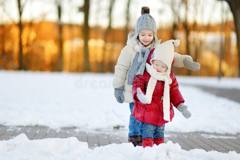 Två lilla systrar som har gyckel på snöig vinterdag arkivfoto